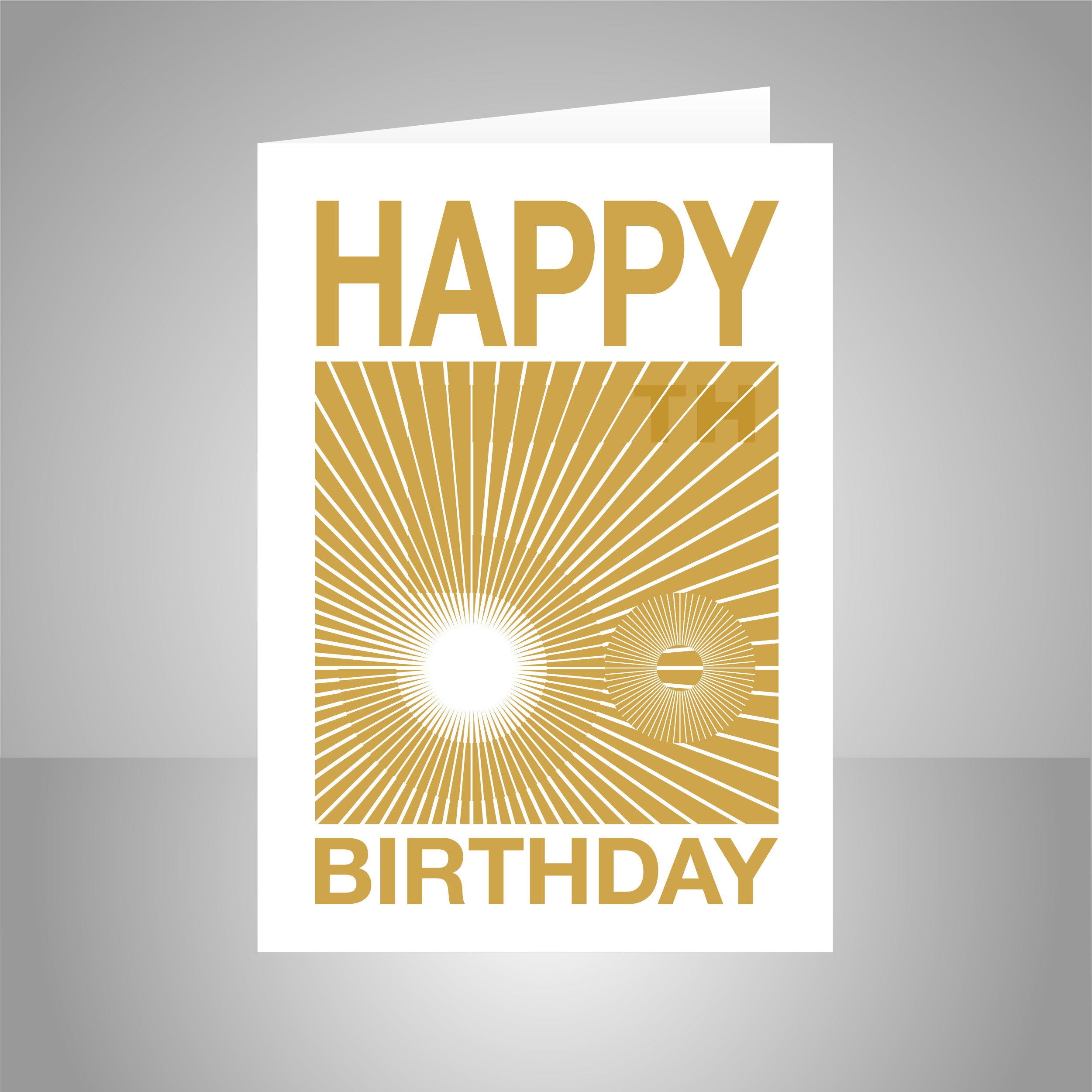 Opart 50th Birthday Card For Her For Him Golden 50 Bday