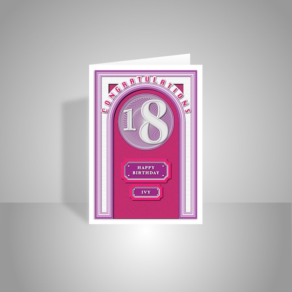 18th Happy Birthday For Girl Card Personalised 18