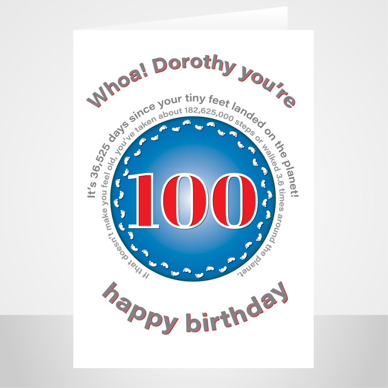 funny 100th birthday card for him or her edit name 100