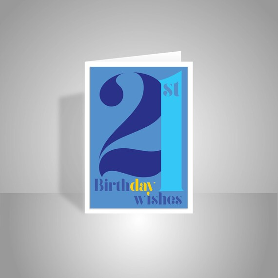 21st Birthday Wishes Card For Boy Or Man 21 Happy Birthday Etsy