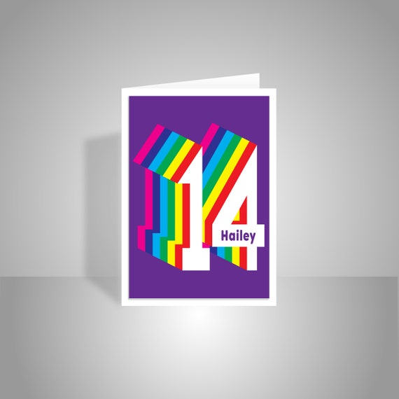 Personalised 14th Happy Birthday Card For Boy For Girl Edit Etsy