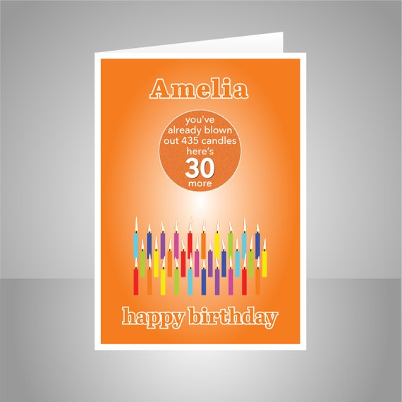 Funny 30th Birthday Card For Him Her Edit Name 30 Bday