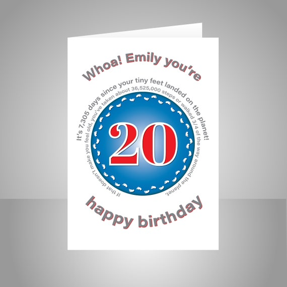 Funny 20th Birthday Card For Boy Girl Unique Edit Name 20