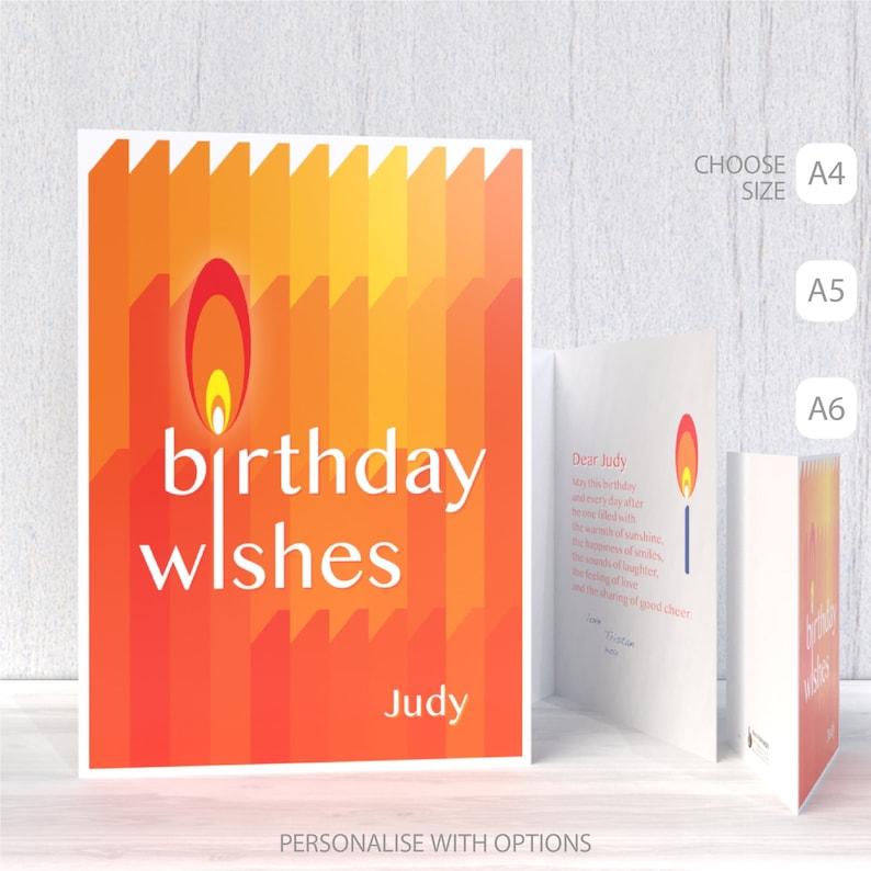 Geburtstagswünsche Karte.Personalisierte Namen Geburtstagswünsche Karte Für Ihren Ihn Freund Bearbeiten Name Geburtstagskarte Zeitgenössische Kerzen Typografie Große
