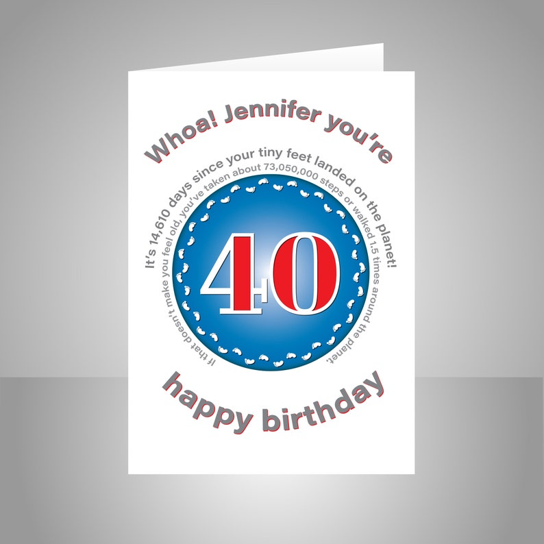 Funny 40th Birthday Card For Him Or Her Edit Name 40 Bday