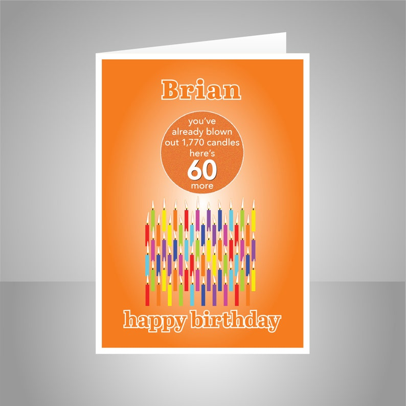 Funny 60th Birthday Card For Him For Her Edit Name 60 Bday