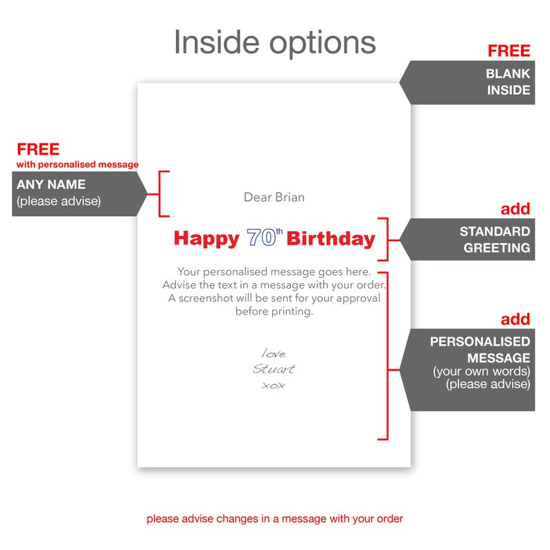 Personalised Name 70th Birthday Card For Him Her Edit