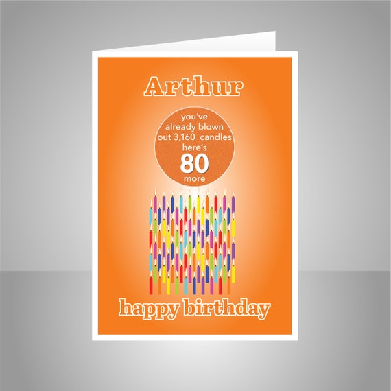 Funny 80th Birthday Card For Him Her Edit Name 80 Bday