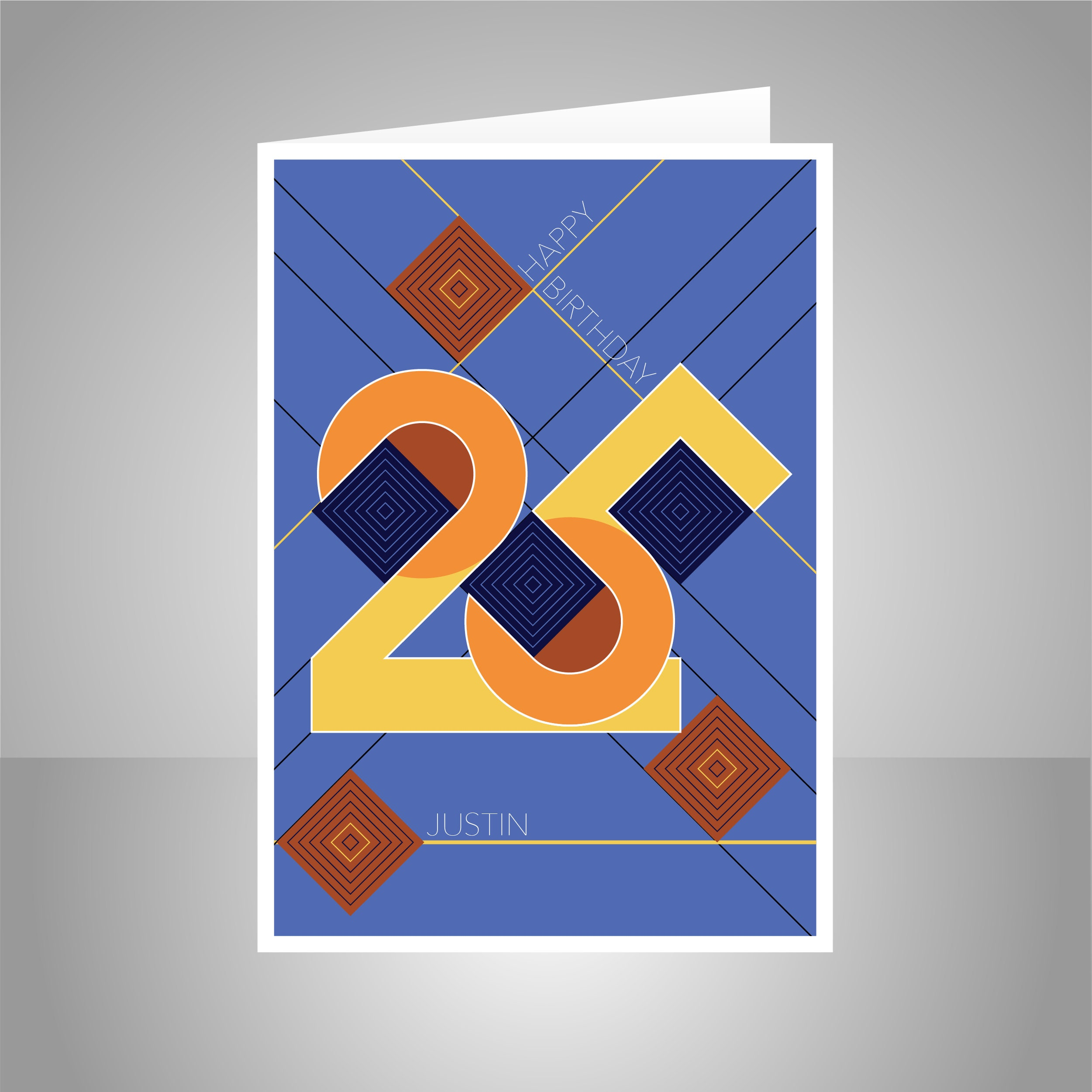 Personalised 25th Happy Birthday Card For Him Man Edit NAME