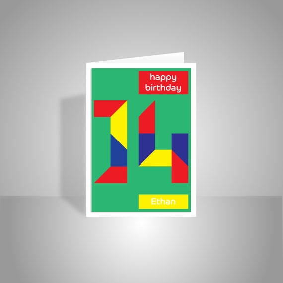Personalised 14th Birthday Card For Boy For Girl Edit Name 14 Etsy