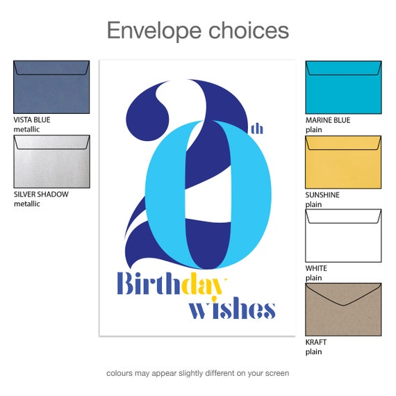 20th Birthday Wishes Card For Boy Or Man 20 Happy Typography Blue Son Nephew Grandson Friend Message Options