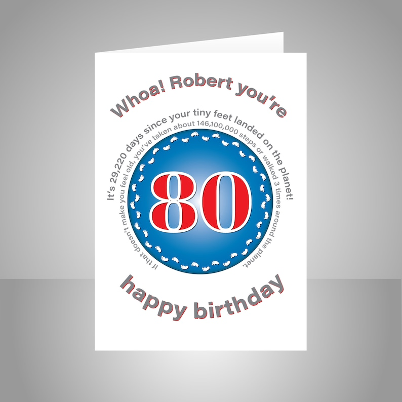 Funny 80th Birthday Card For Him Or Her Edit Name 80 Bday