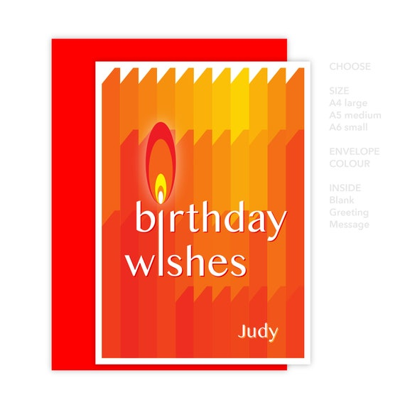 Personalised Name Birthday Wishes Card For Her Him Friend Etsy