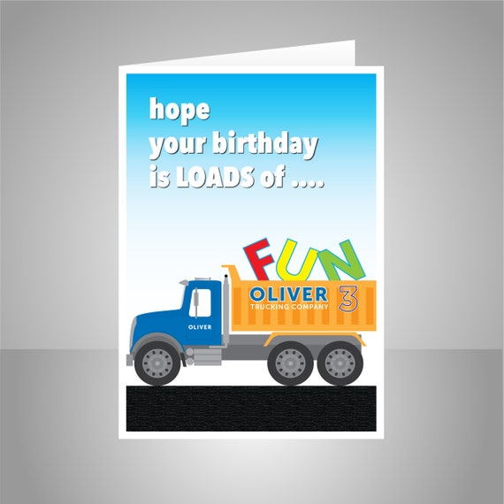 3rd Birthday Card For Boy Edit Name Truck Personalised 3 Bday Son Nephew Friend Brother Grandson Add Message