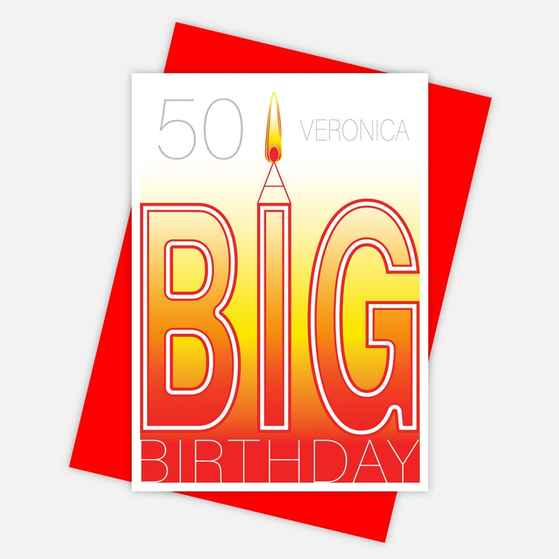 10th 20th 21st 30th 40th 50th 60th 70th 80th 90th 100th edit name /& age personalised birthday card A BIG Birthday Card for him for her
