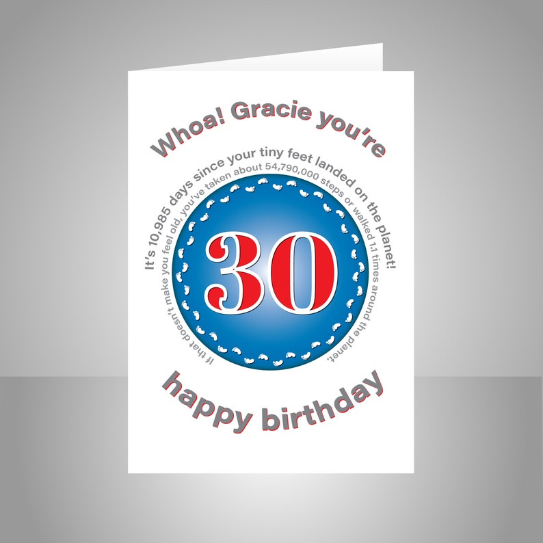 Funny 30th Birthday Card For Him Or Her Unique Edit Name 30