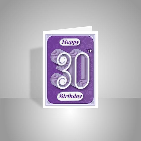 30th Happy Birthday Card Cards Handmade Modern Typography Age Etsy