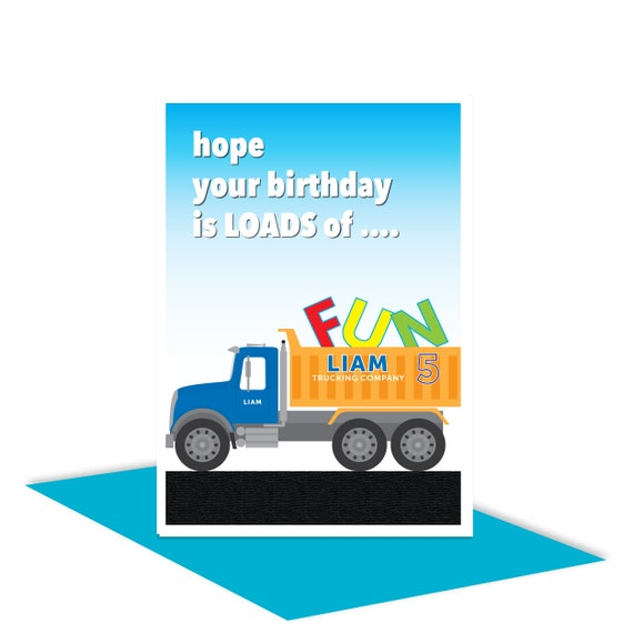 Truck Personalised 5th Happy Birthday Card For Boy Edit Name