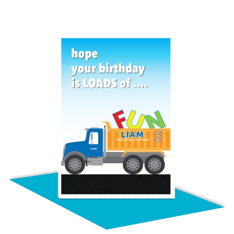 Truck Personalised 5th Happy Birthday Card For Boy Edit Name 5 Bday Son Nephew Friend Brother Grandson Add Message