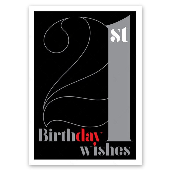 21st birthday wishes card for boy or girl 21 happy birthday etsy 21st birthday wishes card for boy or girl 21 happy birthday card for man or woman black silver typography design inside message options m4hsunfo