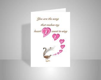 I Love You romantic card for boyfriend girlfriend wife husband Love, Valentine card lyrebird singing pink hearts inside message options