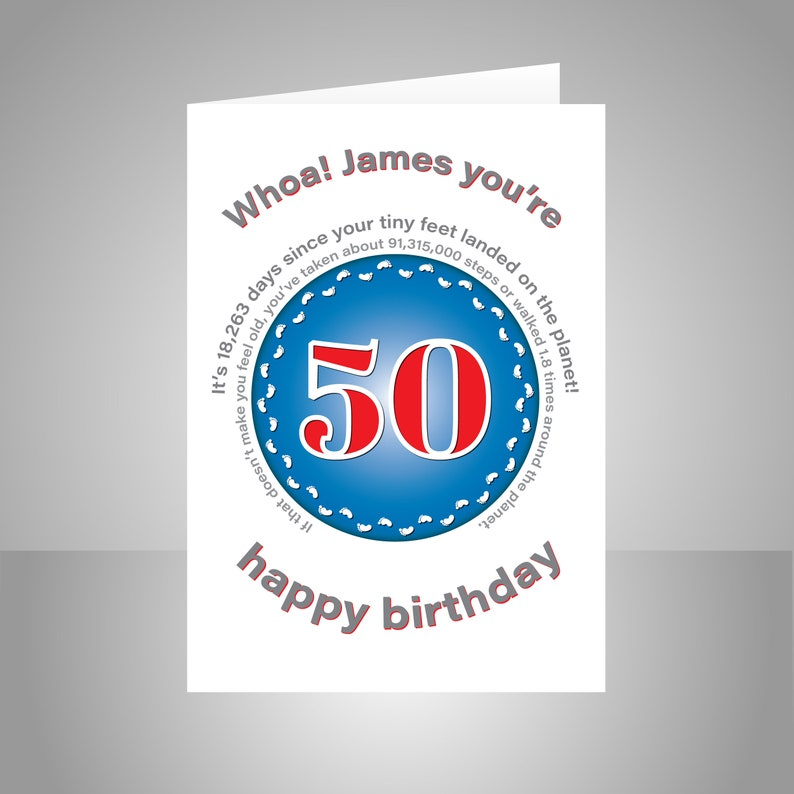Funny 50th Birthday Card For Him Or Her Unique Personalised
