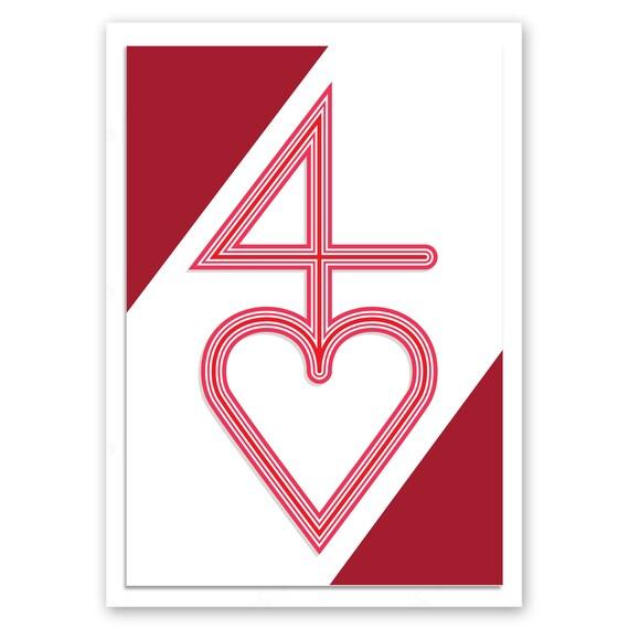 40th Wedding Anniversary Card Ruby Red Minimalist 40 Heart Etsy