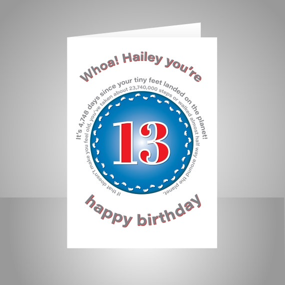 Funny 13th Birthday Card For Boy Girl Unique Edit Name 13