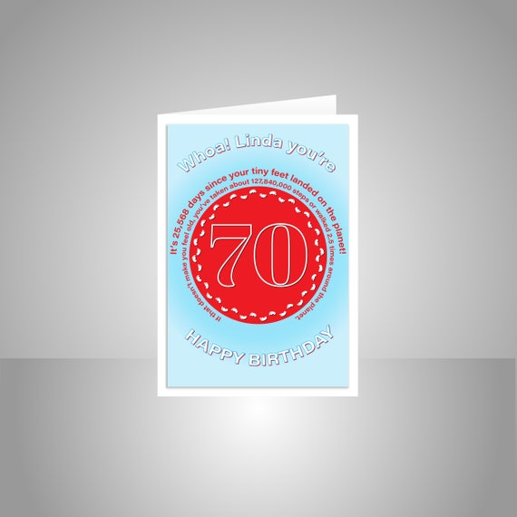 Funny 70th Birthday Card For Him Or Her Edit Name 70 Bday