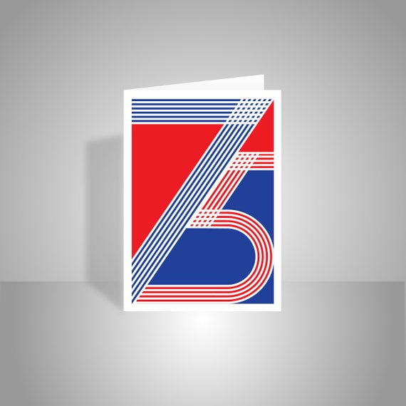 75th Happy Birthday Card For Him Her Red White Blue