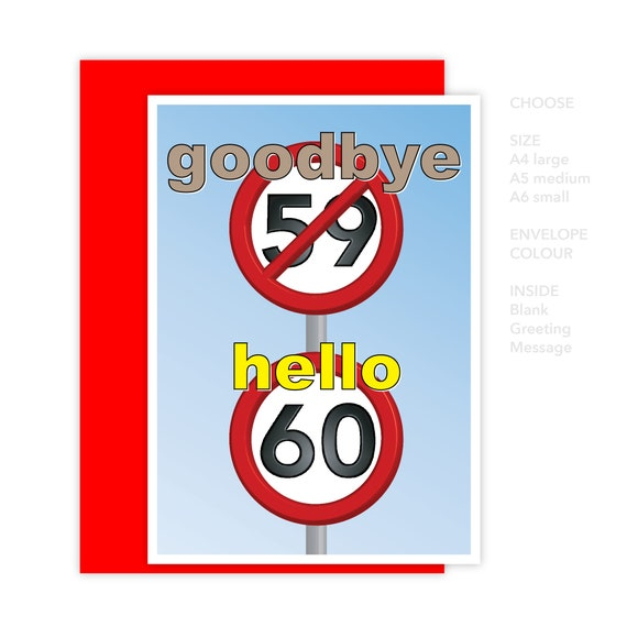 Funny 60th Happy Birthday Card For Him For Her 60 Birthday Etsy
