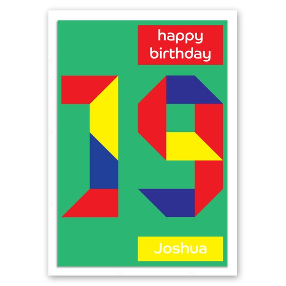 Personalised 19th Birthday Card For Boy For Girl Edit Name 19 Etsy
