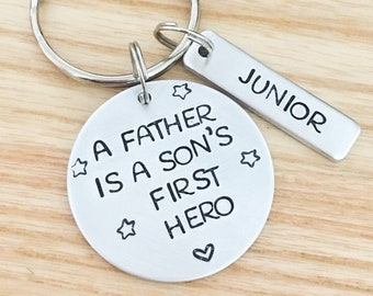 Dad Birthday Gift From Son Personalized Keychain New Keyring For Him Customized
