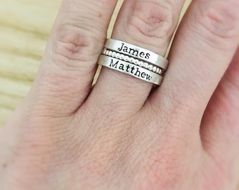 Stacking name rings - Mothers Day Gift for mom - personalized stack rings - sterling silver bead ring - mothers name rings - stacked rings
