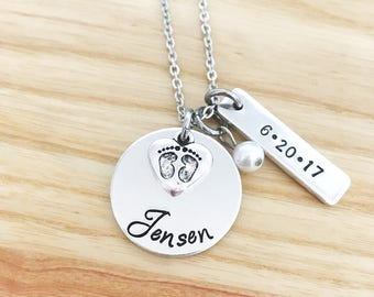 Push present etsy new mom necklace push present hand stamped necklace jewelry baby stats necklace baby name necklace mothers day gift for mom aloadofball Gallery