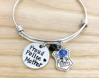 Police jewelry etsy proud police mother mom grandma grandmother hand stamped jewelry bracelet police bracelet gift for police mom police jewelry aloadofball Image collections