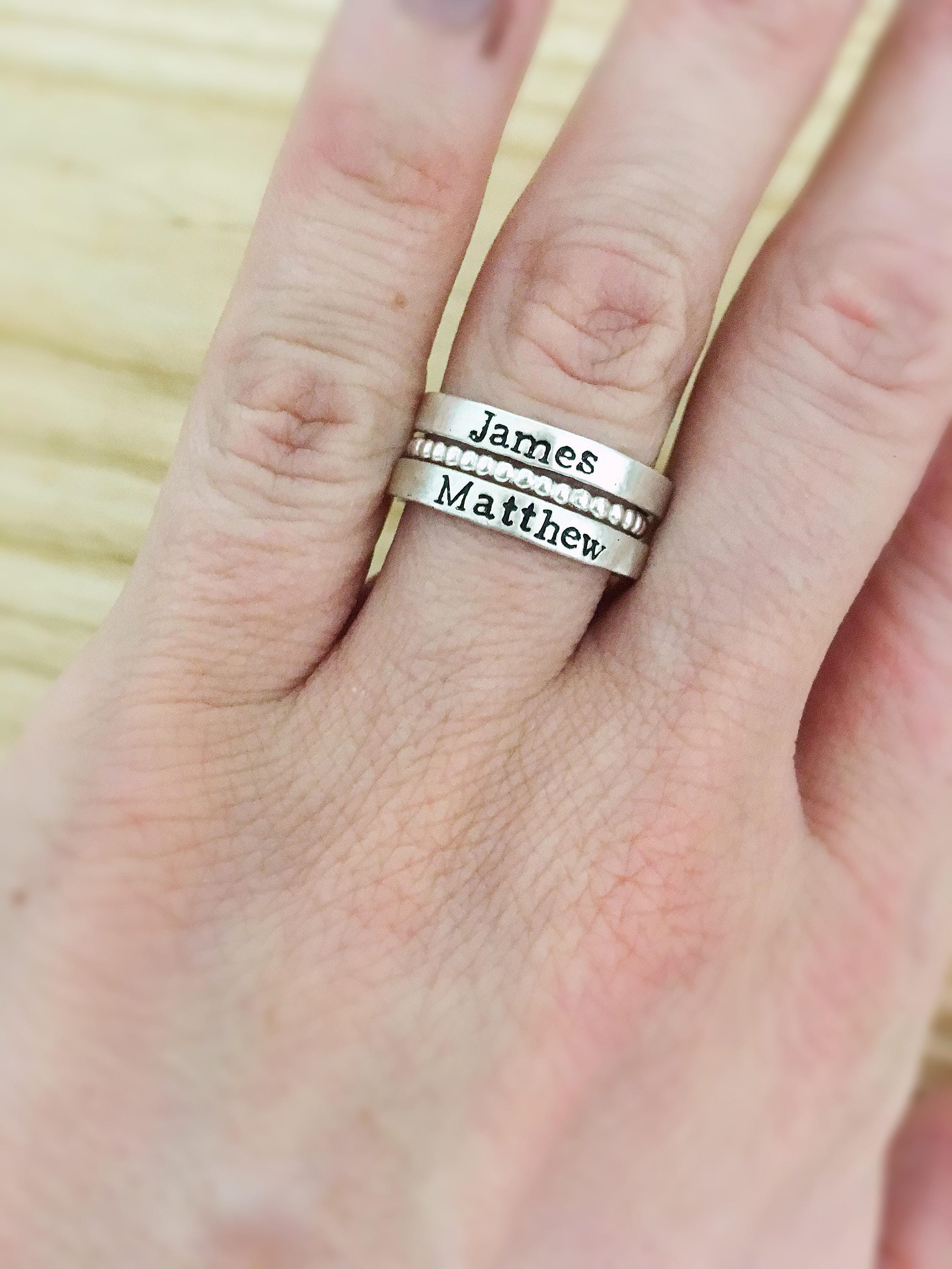 Stacking name rings Mothers Day Gift for mom personalized