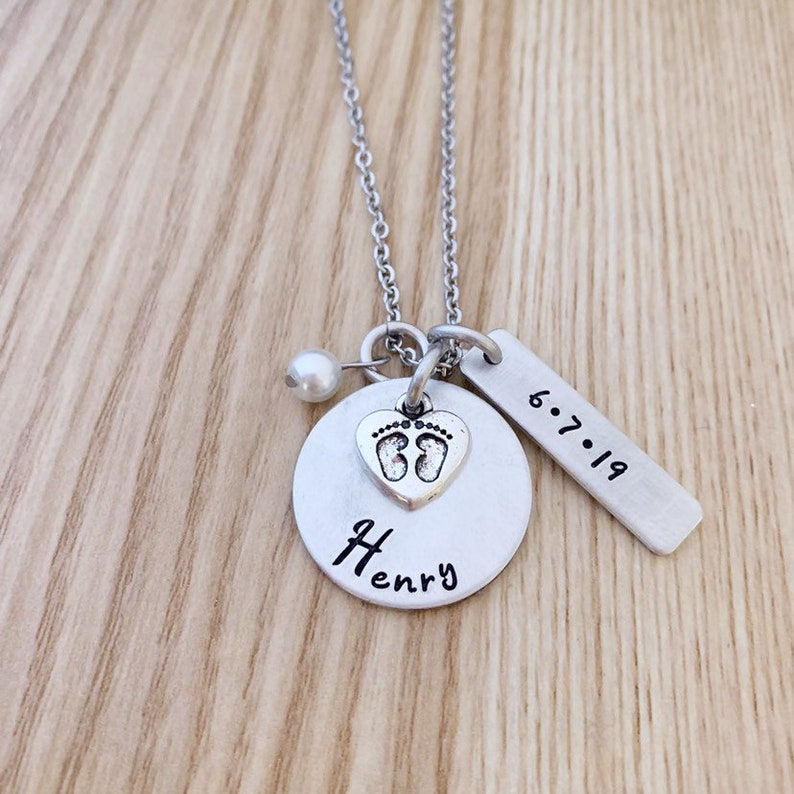 Birthstones Necklace Mother/'s necklace Push Present Hand Stamped kid/'s necklace Name necklace Gift for her Mother/'s Day Gift