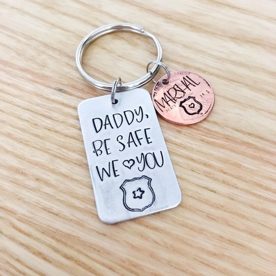 police be safe gift hand stamped police keychain Personalized police gift