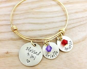 Blessed Grandma - Grandma Mimi Memaw Nonna Nana Bracelet - Granddaughter Grandson Jewelry - Hand Stamped Jewelry Bracelet - Gold tone
