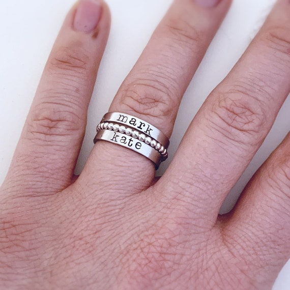 Personalized Ring Silver Stackable Name Rings Mom Ring Mother/'s Rings Mom Gift Memorial Name Ring Set Stainless Steel Stacking Name Ring