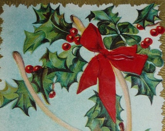 Wishbone and Holly Christmas and New Year Antique Postcard