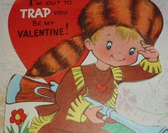 db9ceb40dd8 Cute Boy in Coonskin Cap With Musket Going to Set a Trap Vintage 1950s  Valentine Card UNUSED