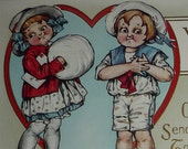 Little Boy Wants Cute Girl for His Valentine Antique Whitney Made Postcard