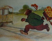 A S Shearer Dressed Bear is Too Late for the Train Antique Comic Postcard