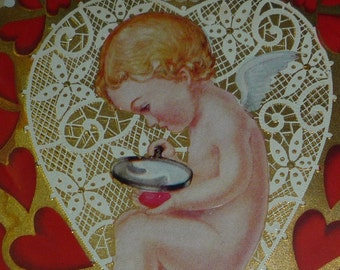 Antique Victorian Valentine card tag Cupid/'s Love Store Nister 1910 vintage die cut London