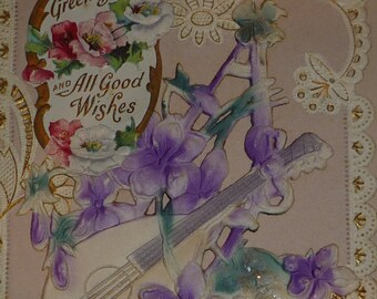Greetings and All Good Wishes Lute With Violets on Lacy-Looking Antique Postcard