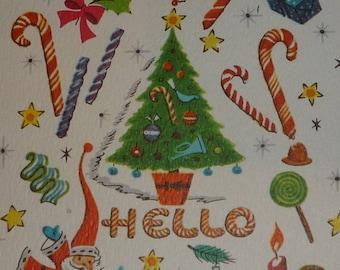Small 1950s Christmas Greeting Card