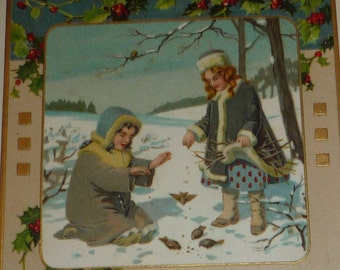 Little Girls Feeding Birds Antique Christmas Postcard