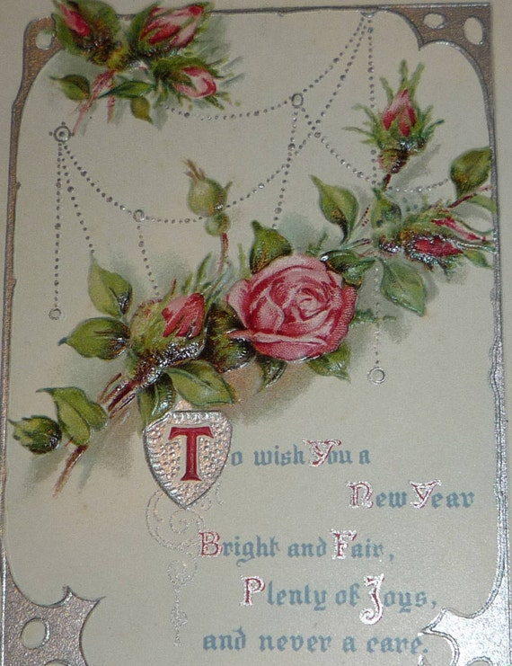 many happy days pink roses and new year wishes antique